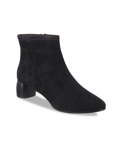 Clarks Women Black Solid Leather Heeled Boots