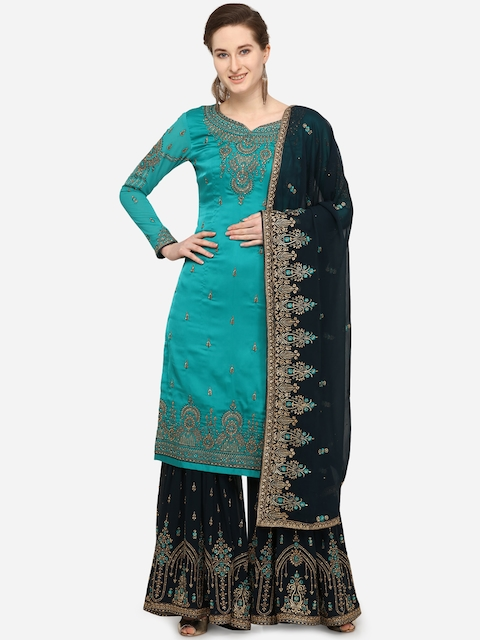 Stylee LIFESTYLE Green & Blue Satin Semi-Stitched Dress Material