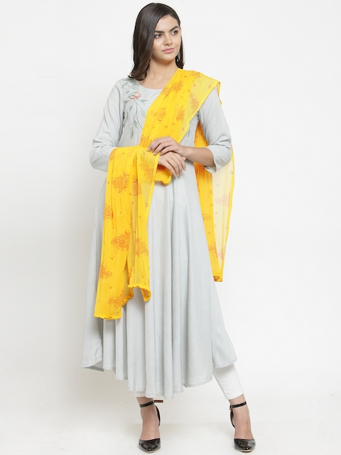 Kiaasa Yellow Printed Dupatta