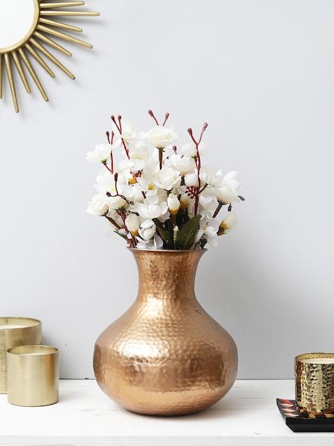 HOME DECOR INDIA Copper-Toned Metal Designer Flower Vase