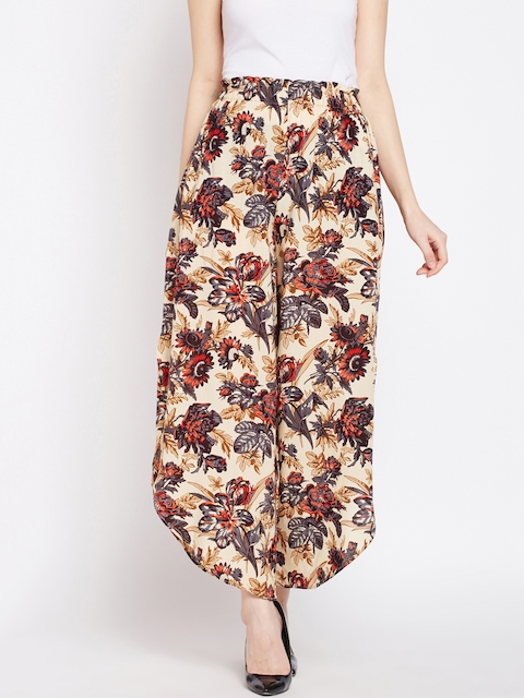 Oxolloxo Women Multicoloured Floral Printed Wide Leg Palazzos