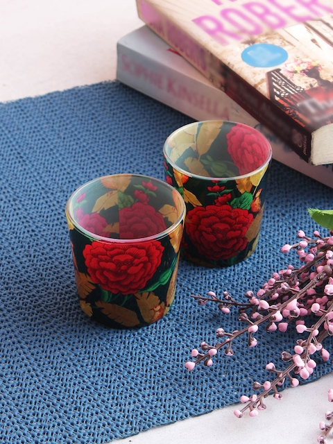 India Circus by Krsnaa Mehta Set of 2 Red & Green Tea Light Candles Holders