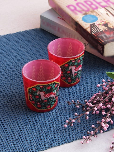 India Circus by Krsnaa Mehta Set of 2 Red & Green Tea Light Candles With Holders