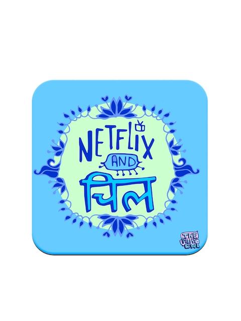 Happywagon Blue Printed MDF Square Netflix Coaster