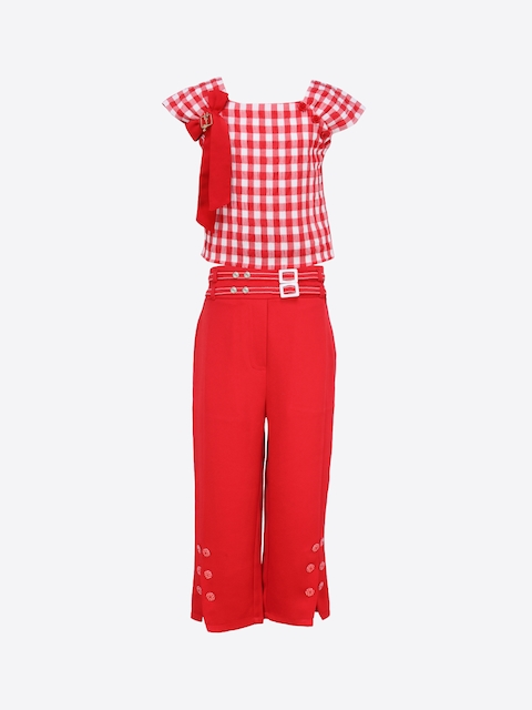 CUTECUMBER Girls Red Checked Top with Capris
