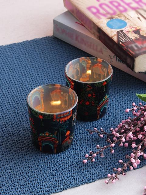 India Circus by Krsnaa Mehta Set of 2 Navy Blue & Orange Tea Light Candle Holders
