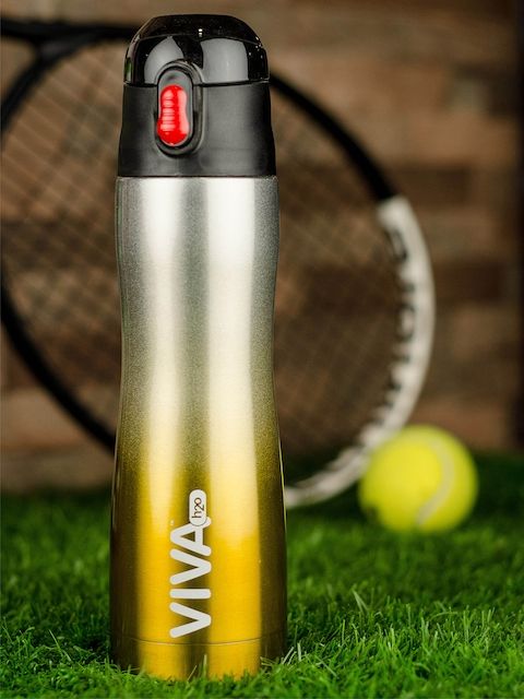 VIVA h2o Gold-Toned & Silver-Toned Textured Stainless Steel Water Bottle