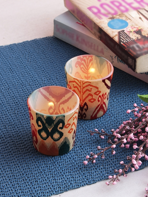 India Circus by Krsnaa Mehta Set of 2 Multicoloured Tea Light Candles With Holders