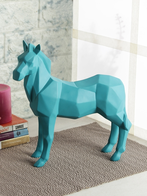 India Circus by Krsnaa Mehta Turquoise Blue Solid Stallion Stability Figurine