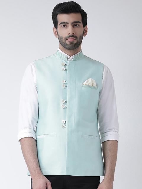KISAH Men Blue Solid Nehru Jacket