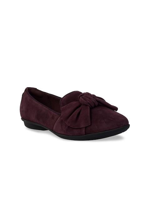 Clarks Women Purple Leather Loafers