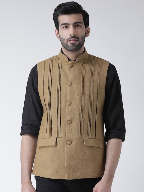 KISAH Men Brown Solid Nehru Jacket