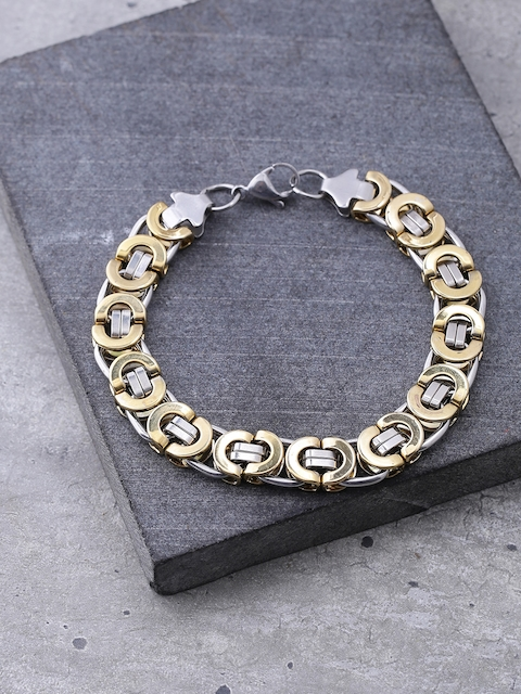 Dare by Voylla Men Gold-Toned & Silver-Toned Handcrafted Link Bracelet
