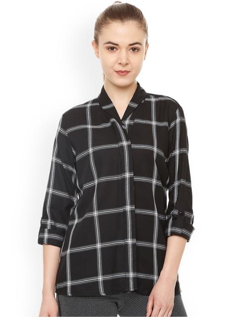 Van Heusen Woman Black Regular Fit Checked Casual Shirt