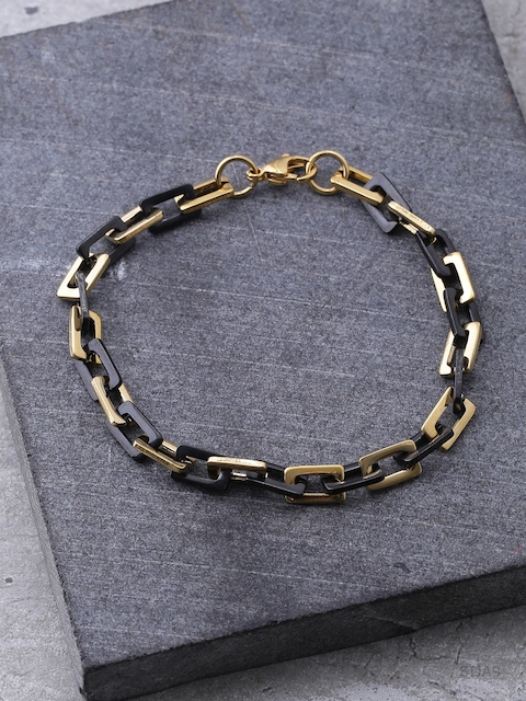 Dare by Voylla Men Gold-Toned & Black Brass-Plated Handcrafted Link Bracelet