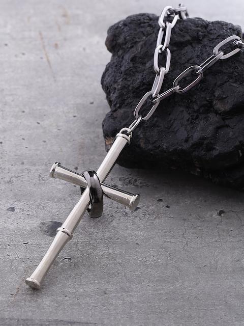 Dare by Voylla Men Silver-Plated & Black Pendant with Chain