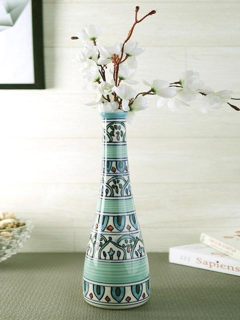 VarEesha Turquoise Blue & White Handcrafted Ceramic Vase