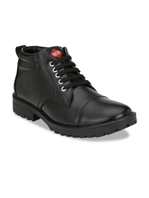 Mactree Men Black Solid Synthetic Leather Mid-Top Flat Boots
