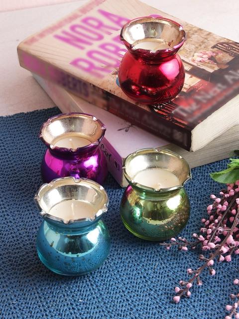 India Circus by Krsnaa Mehta Set of 4 Multicoloured Jar Votives