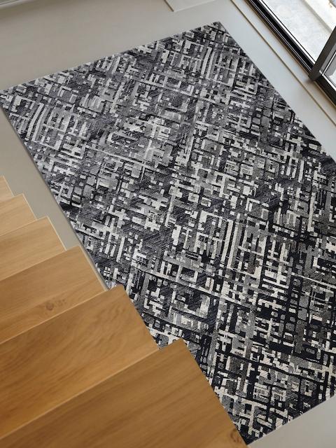 OBSESSIONS Beige & Black Printed Anti-Skid Carpet