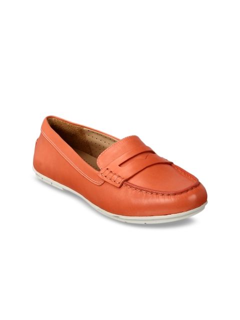 Clarks Women Coral Orange Leather Penny Loafers