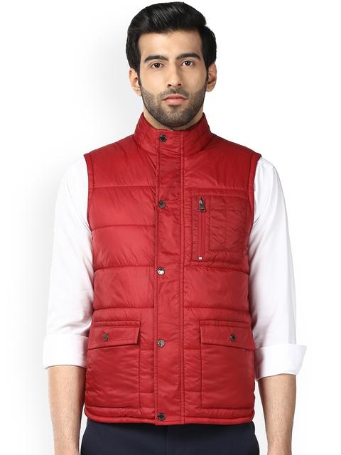 Park Avenue Men Red Solid Jacket
