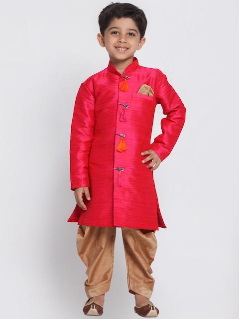 JBN Creation Boys Pink & Brown Sherwani Set