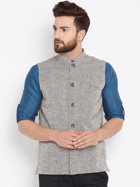 even Men Beige Woven Design Nehru Jacket