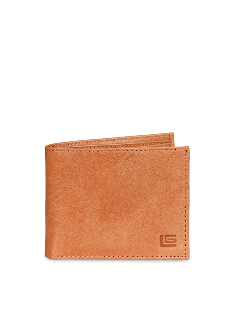 Justanned Men Tan Solid Two Fold Leather Wallet