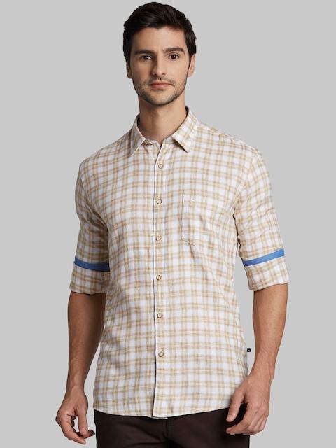 Parx Men Beige & White Slim Fit Checked Casual Shirt
