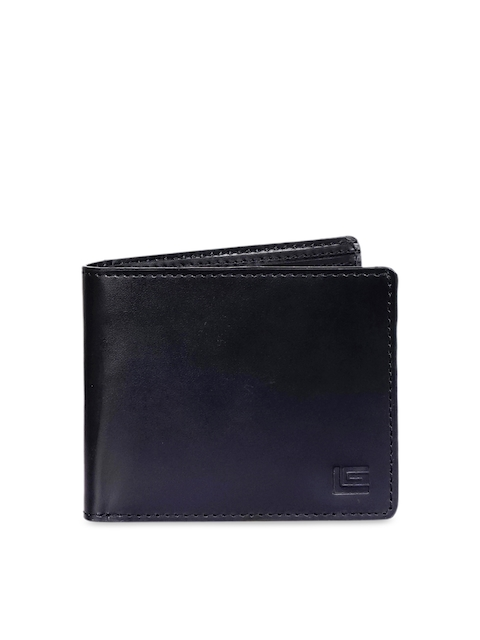 Justanned Men Black Solid Two Fold Leather Wallet