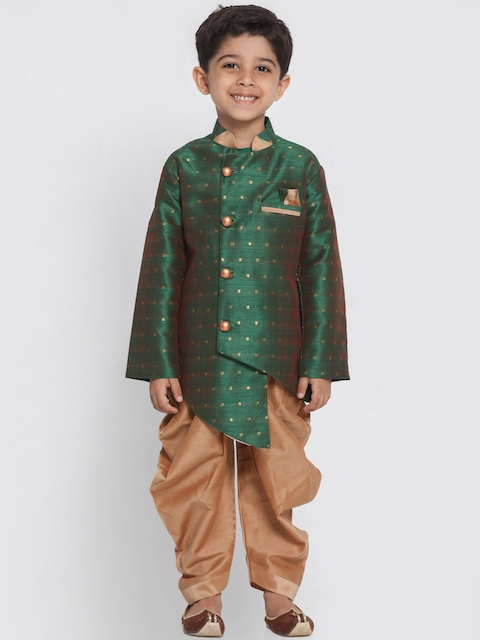 JBN Creation Boys Green & Brown Sherwani Set
