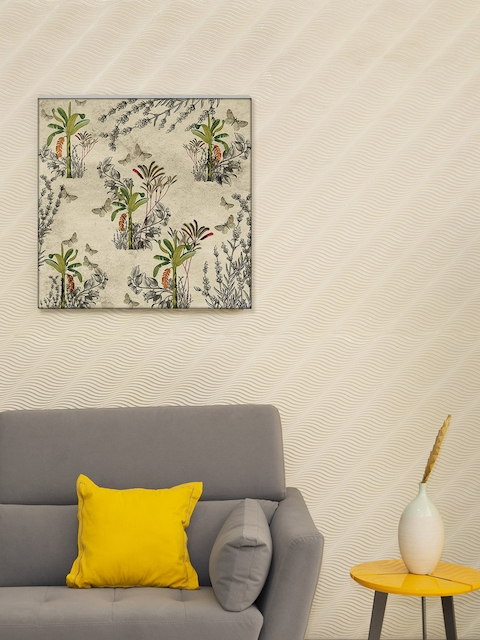 India Circus by Krsnaa Mehta Beige & Green Printed Canvas Wall Art