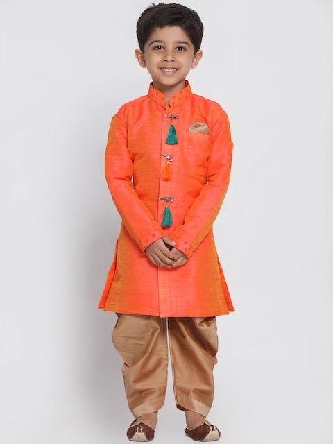JBN Creation Boys Orange & Brown Sherwani Set