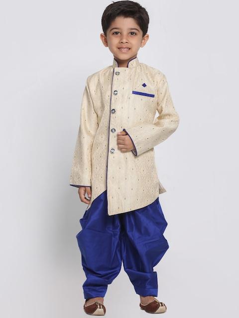 JBN Creation Boys Blue & Cream-Coloured Sherwani Set