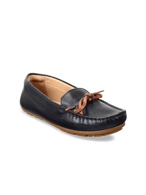 Clarks Women Navy Blue Leather Loafers