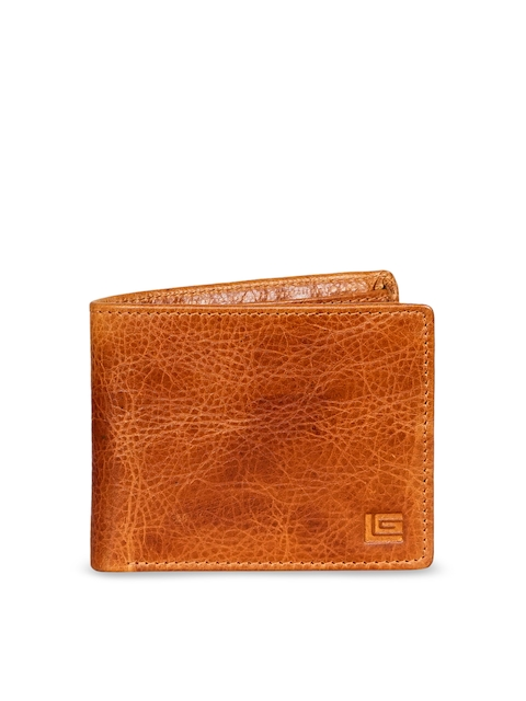 Justanned Men Tan Brown Solid Two Fold Leather Wallet