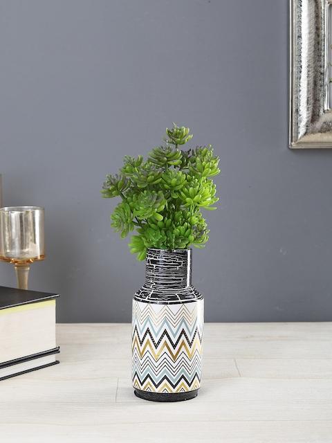 OddCroft Multicoloured Chevron Print Ceramic Flower Vase