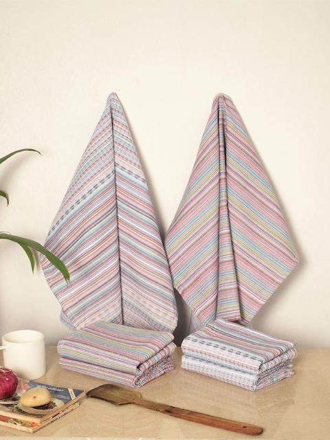 Avira Home Set of 6 Multicoloured Striped Kitchen Towels