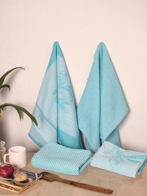 Avira Home Set of 4 Blue Printed Kitchen Towels
