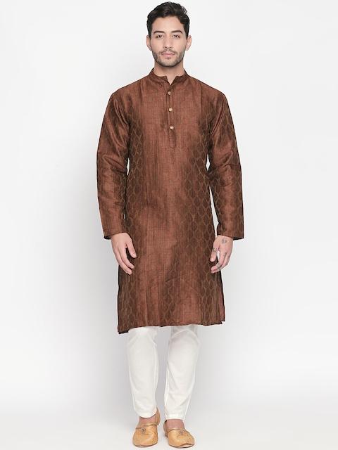 Vivids India Men Brown Jacquard Woven Design Straight Kurta