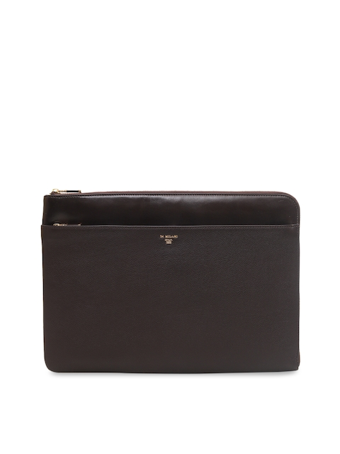 Da Milano Unisex Brown Solid Leather Laptop Sleeve