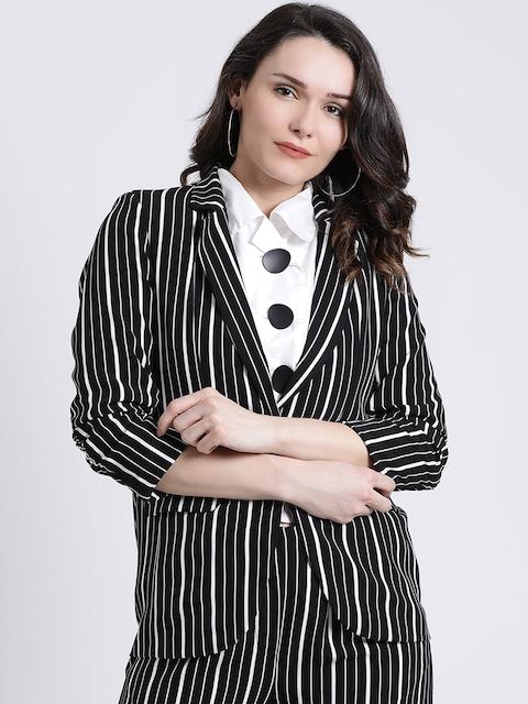 Kazo Women Black & White Striped Jacket