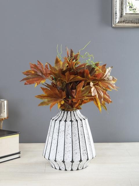 OddCroft White & Charcoal Grey Textured Ceramic Flower Vase