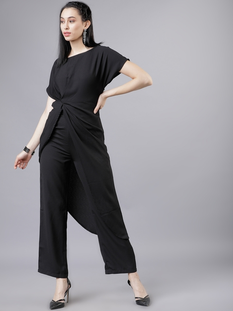 Tokyo Talkies Women Black Solid Top with Trousers