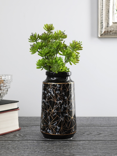OddCroft Black & Gold-Toned Textured Flower Vase