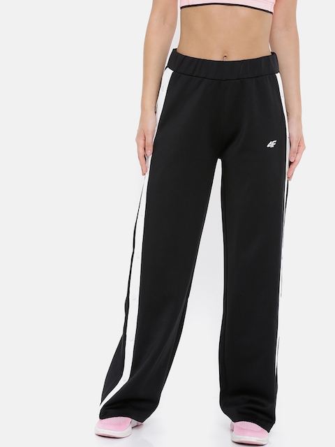 4F Women Black Solid Straight-Fit Trackpants