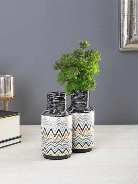 OddCroft Set of 2 White Chevron Print Ceramic Flower Vases