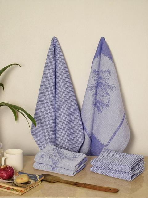 Avira Home Set of 6 Purple Printed Kitchen Towels