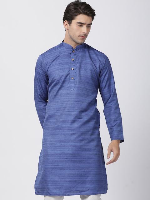 VASTRAMAY Men Blue Woven Design Straight Kurta